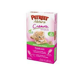 Petreet natura cremosi snack tonno con piselli confezione da 6 pezzi per 14 gr