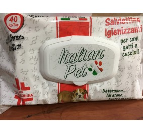Italian pet salviette detergenti per cani, gatti e cuccioli clorexidina 30*20 conf 40 pz