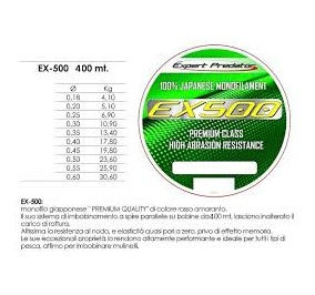 Expert predator ex 500 mt 500 diametro 0,20